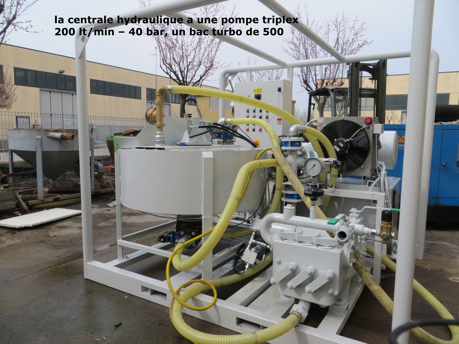 Centrale D'injection de coulis béton 200 Lt/min à 40 bar - Bac turbo 500 Lt